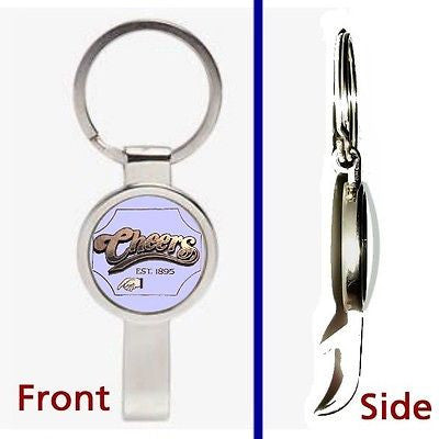 Cheers TV Show Bar Pennant or Keychain silver tone secret bottle opener , Keyrings - n/a, Final Score Products