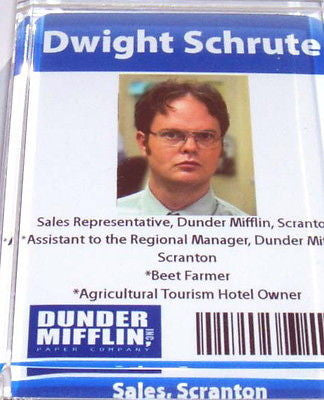 Official Dunder Mifflin Dwight Shrute ID Fridge Magnet big 2.5 X 3.5 inches , Fridge Magnets - n/a, Final Score Products