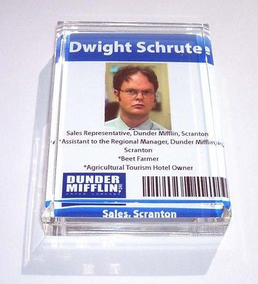 Acrylic Dwight Schrute Executive Desk Top Paperweight , Other - n/a, Final Score Products