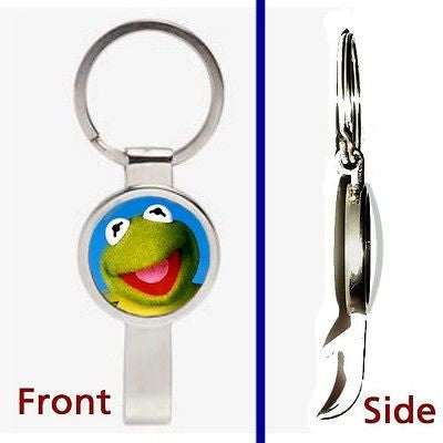 Kermit The Frog Pennant or Keychain silver tone secret bottle opener