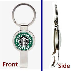 Dumb Starbucks Coffee Pennant or Keychain silver tone secret bottle opener , Starbucks - n/a, Final Score Products