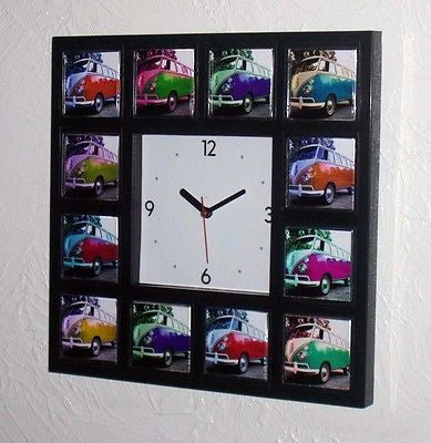 VW Bus Van Volkswagen kombie Splitty Vanagen Clock wi/12 colors