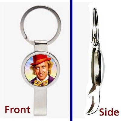Gene Wilder Willy Wonka Pennant or Keychain silver tone secret bottle opener , Keyrings - n/a, Final Score Products
