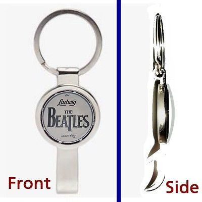 The Beatles Drum Kit Pennant or Keychain silver tone secret bottle opener , Novelties - n/a, Final Score Products