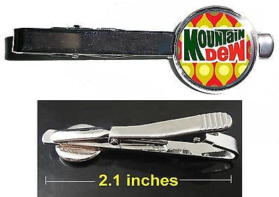 Mt. Dew Drink retro ad Tie Clip Clasp Bar Slide Silver Metal Shiny