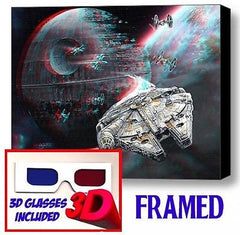 Star Wars Millennium Falcon Death Star Framed 3D Limited Edition Print +glasses , Vehicles - n/a, Final Score Products