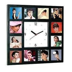 Beautiful faces of Audrey Hepburn Clock with 12 pictures , Watches & Clocks - n/a, Final Score Products