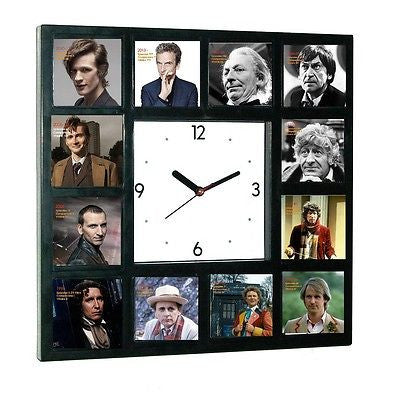 Dr. Who History of Doctors Clock with 12 pictures