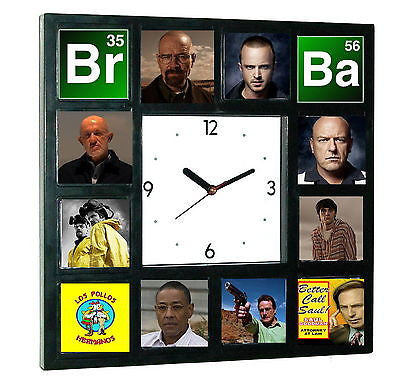 Breaking Bad Heisenberg Jesse Walter White Hank Saul Mike Clock with 12 pictures , Watches & Clocks - n/a, Final Score Products