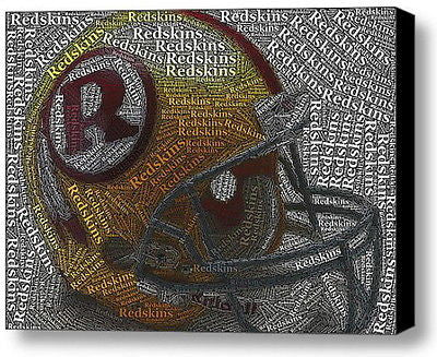 1971 Washigton Redskins Helmet Word Mosaic Framed 9X11 inch Limited Edition , Football-NFL - n/a, Final Score Products