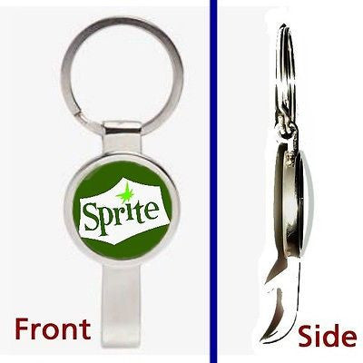classic retro Sprite Soda Pop Pendant Keychain silver tone secret bottle opener