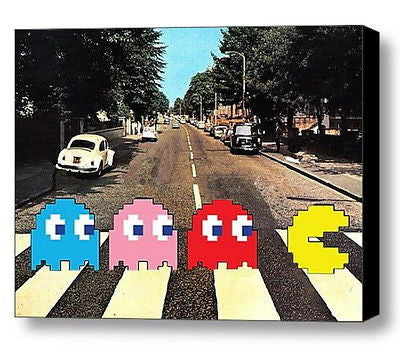 Framed The Beatles Abbey Road Pac-Man 9X11 inch Limited Edition Art Print w/COA