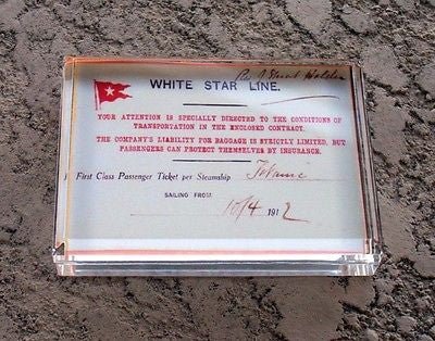 Only Known Titanic Ticket Executive Desk Paperweight , White Star & Titanic - n/a, Final Score Products