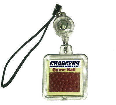 San Diego Chargers Game Used NFL Football Cell Phone Charm or Key Chain