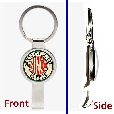 Retro Sinclair Gas and Oil Pennant or Keychain silver tone secret bottle opener