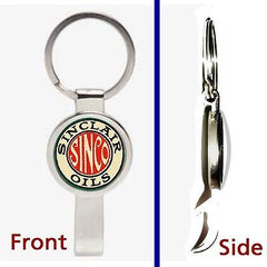 Retro Sinclair Gas and Oil Pennant or Keychain silver tone secret bottle opener , Sinclair - n/a, Final Score Products