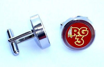 Washington Redskins RG3 Cuff Links silver stainless steel wedding Groomsmen Gift , Football-NFL - n/a, Final Score Products