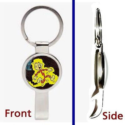 retro look Reddy Kilowatt Pennant or Keychain silver tone secret bottle opener
