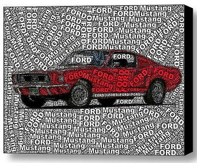 Ford classic Mustang Word Mosaic COOL Framed 9X11 inch Limited Edition Art w/COA , Ford - n/a, Final Score Products
