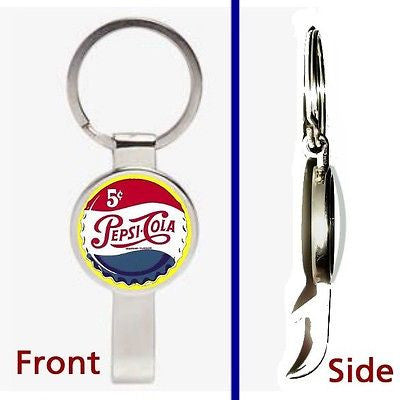 Vintage Pepsi Cola Cap Pennant or Keychain silver tone secret bottle opener , Other - Pepsi, Final Score Products