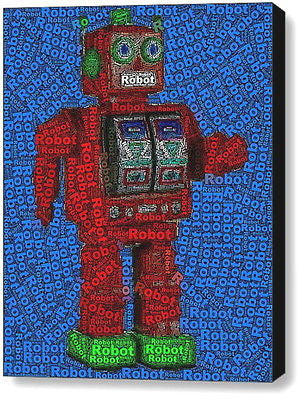 Abstract Tin Robot Word Mosaic Framed 9X11 Limited Edition Art w/COA