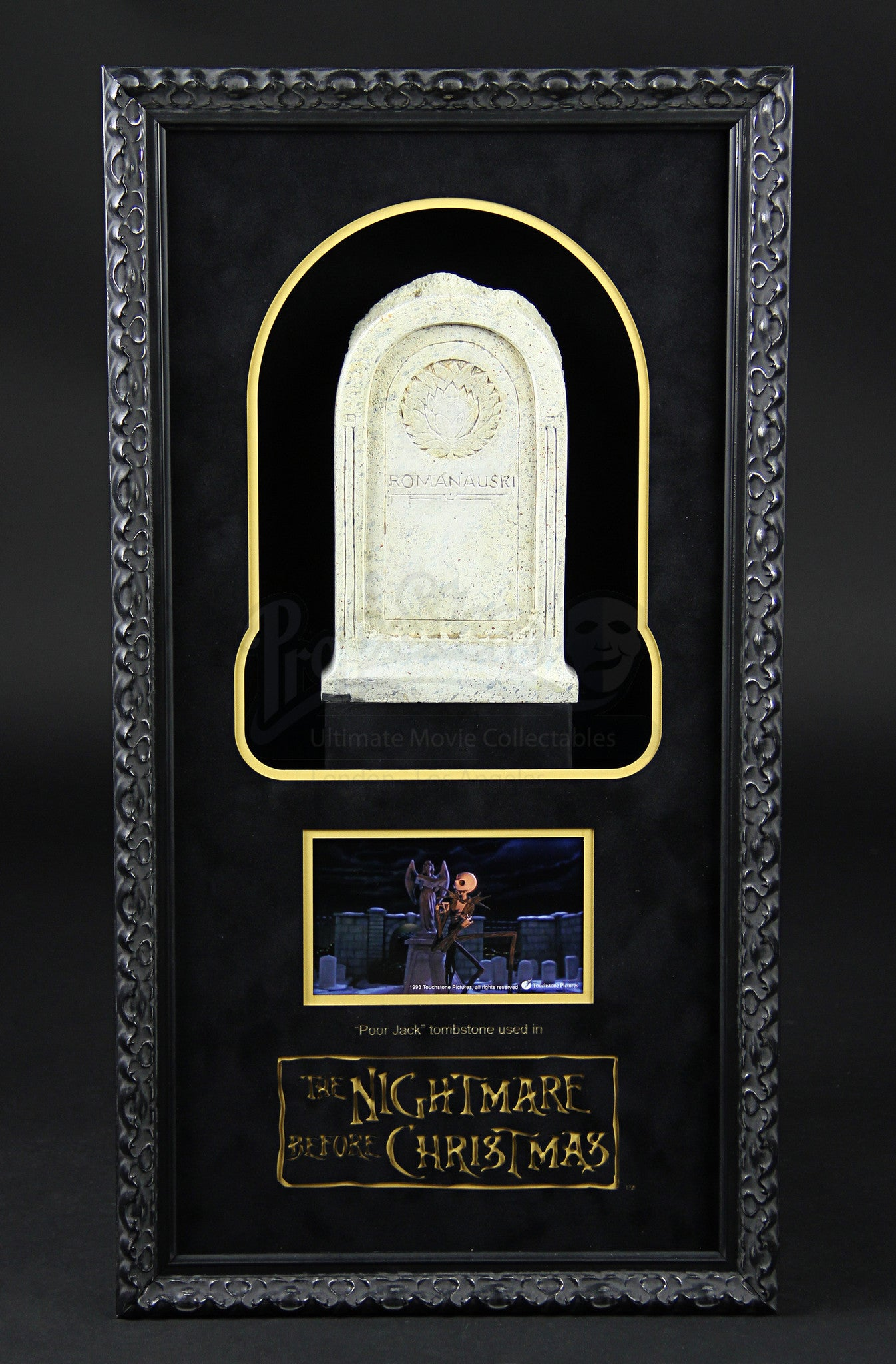 "The Nightmare Before Christmas ""Poor Jack"" Tombstone Display actual real screen used prop , Screen Used Prop - Final Score Products, Final Score Products  - 1"