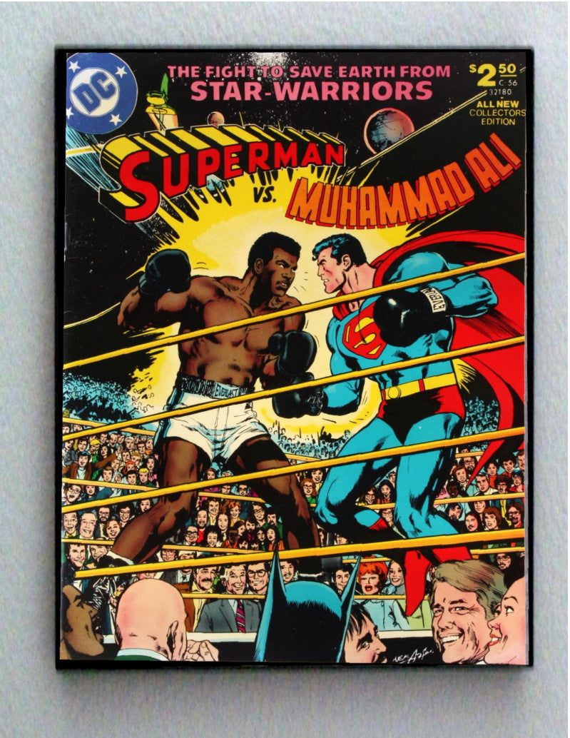 Large Framed Muhammad Ali vs Superman Comic Cover Restored Reprint , framed ad - Final Score Products, Final Score Products  - 1