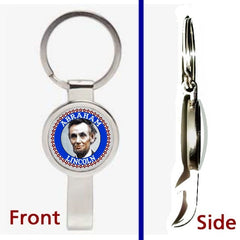 Abraham Abe Lincoln Pendant or Keychain silver tone secret bottle opener , 1861-65 Abraham Lincoln - n/a, Final Score Products