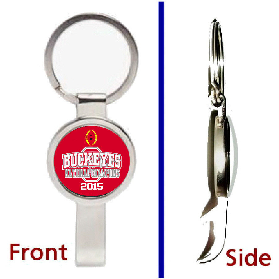 LIMITED EDITION Ohio State Buckeyes 2015 National Football Champs Pennant Keychain secret bottle opener , Keyrings - Final Score Products, Final Score Products