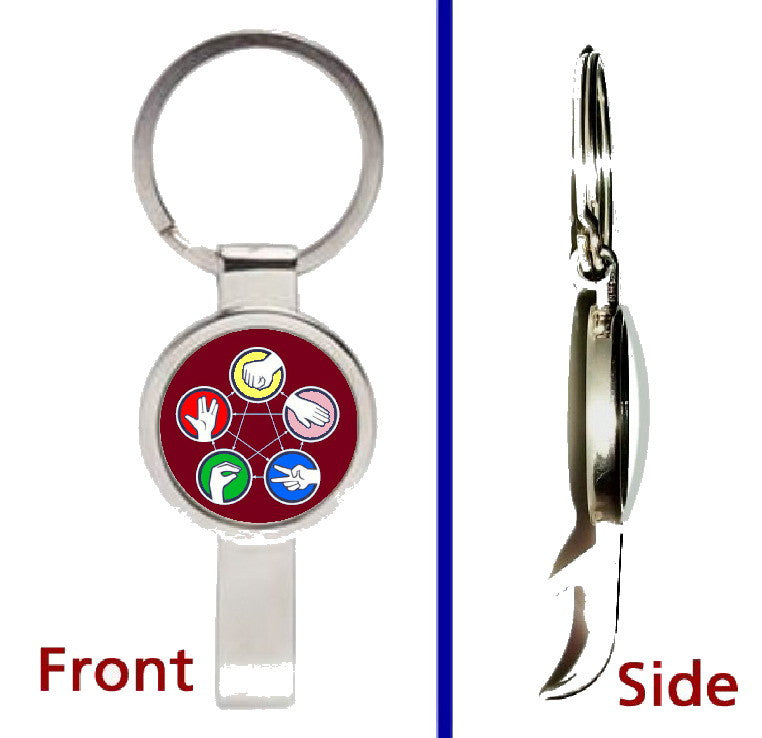 The Big Bang Theory Rock Paper Scissors Lizard Spock Pendant or Keychain silver tone secret bottle opener , Keyrings - n/a, Final Score Products