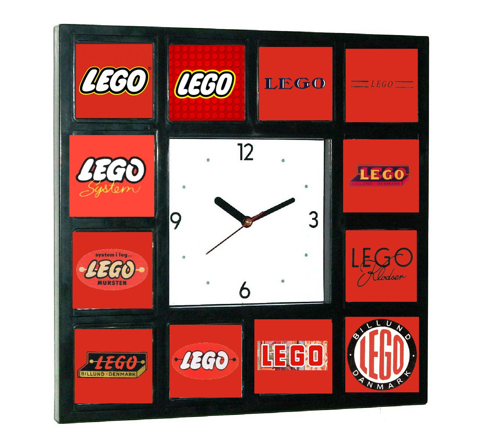 Lego logo history Clock with 12 pictures , Clocks & Radios - Final Score Products, Final Score Products