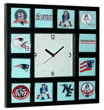 History of New England Patriots retro logo promo wall or desk clock , Clocks & Radios - n/a, Final Score Products