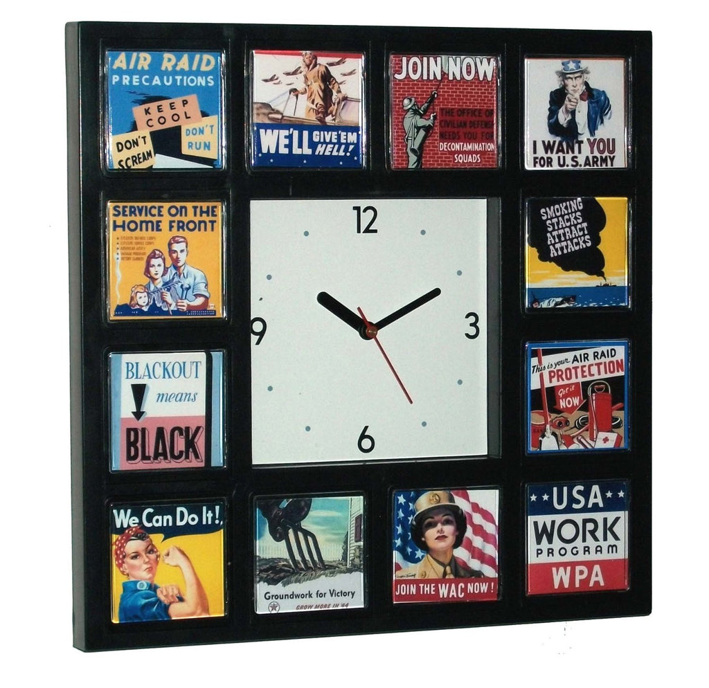 World War II WPA posters Wall or desk clock