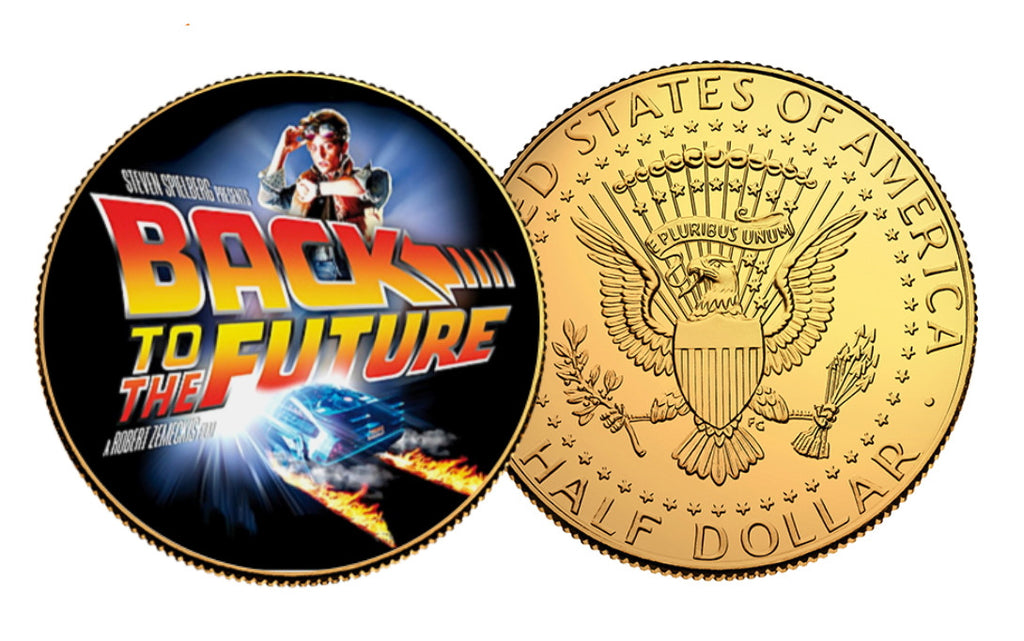 Limited Edition Back To The Future Genuine Gold Plated US Half Dollar Commemorative  Coin with free mini stand.