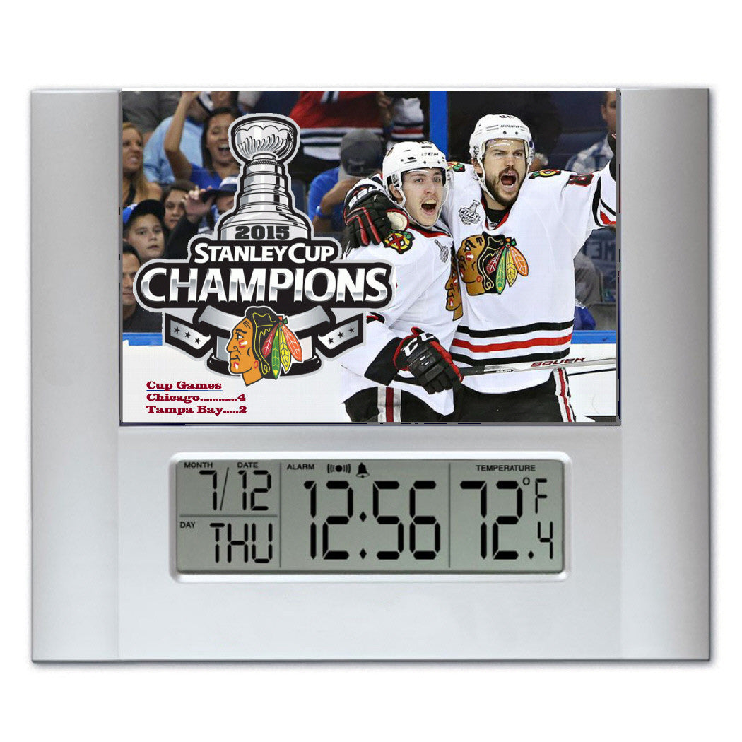 Chicago Blackhawks 2015 Stanley Cup Champions Digital Wall Desk Clock with temperature and alarm , Clocks & Radios - Final Score Products, Final Score Products  - 1