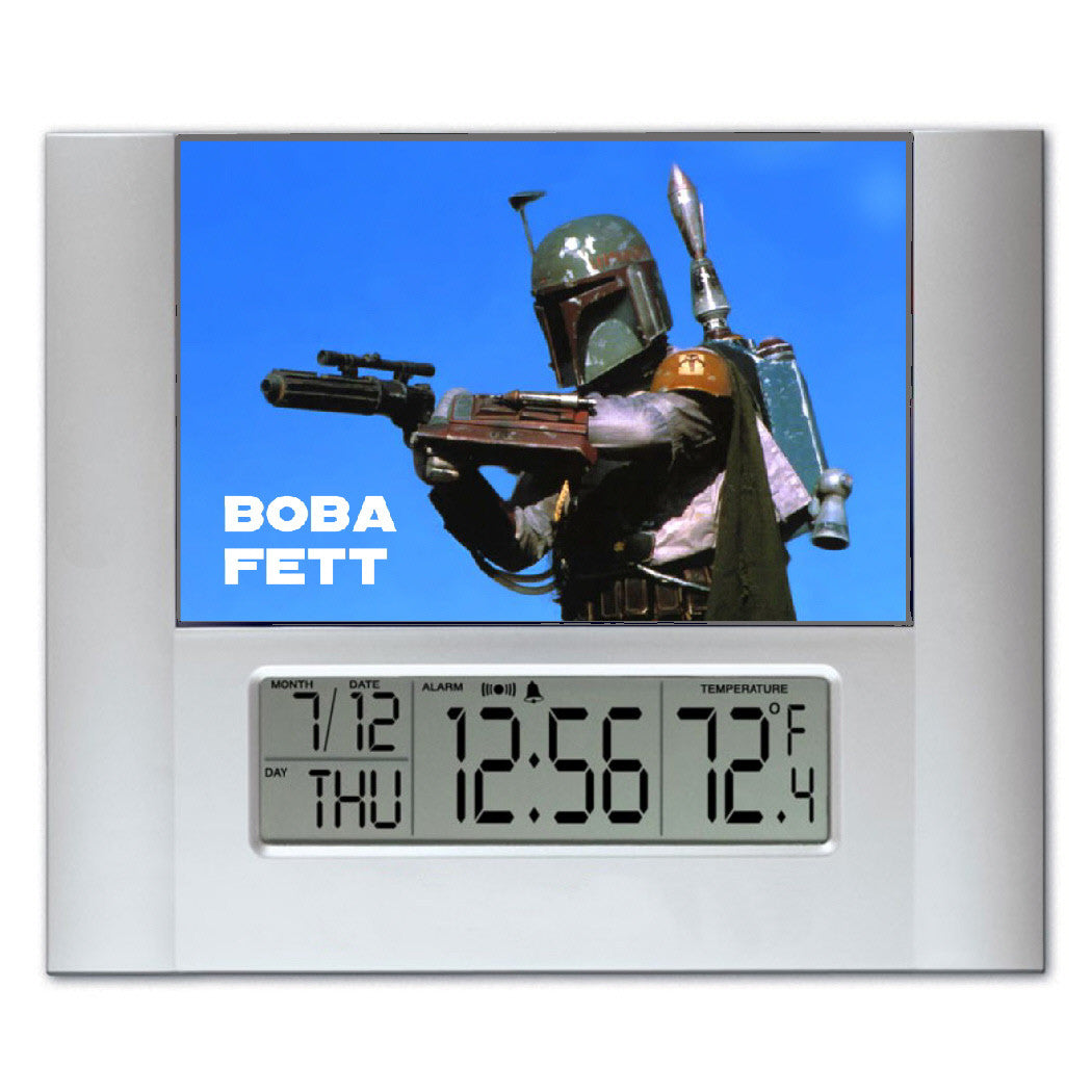 Star Wars Boba Fett Digital Wall Desk Clock with temperature and alarm , Clocks & Radios - Final Score Products, Final Score Products
