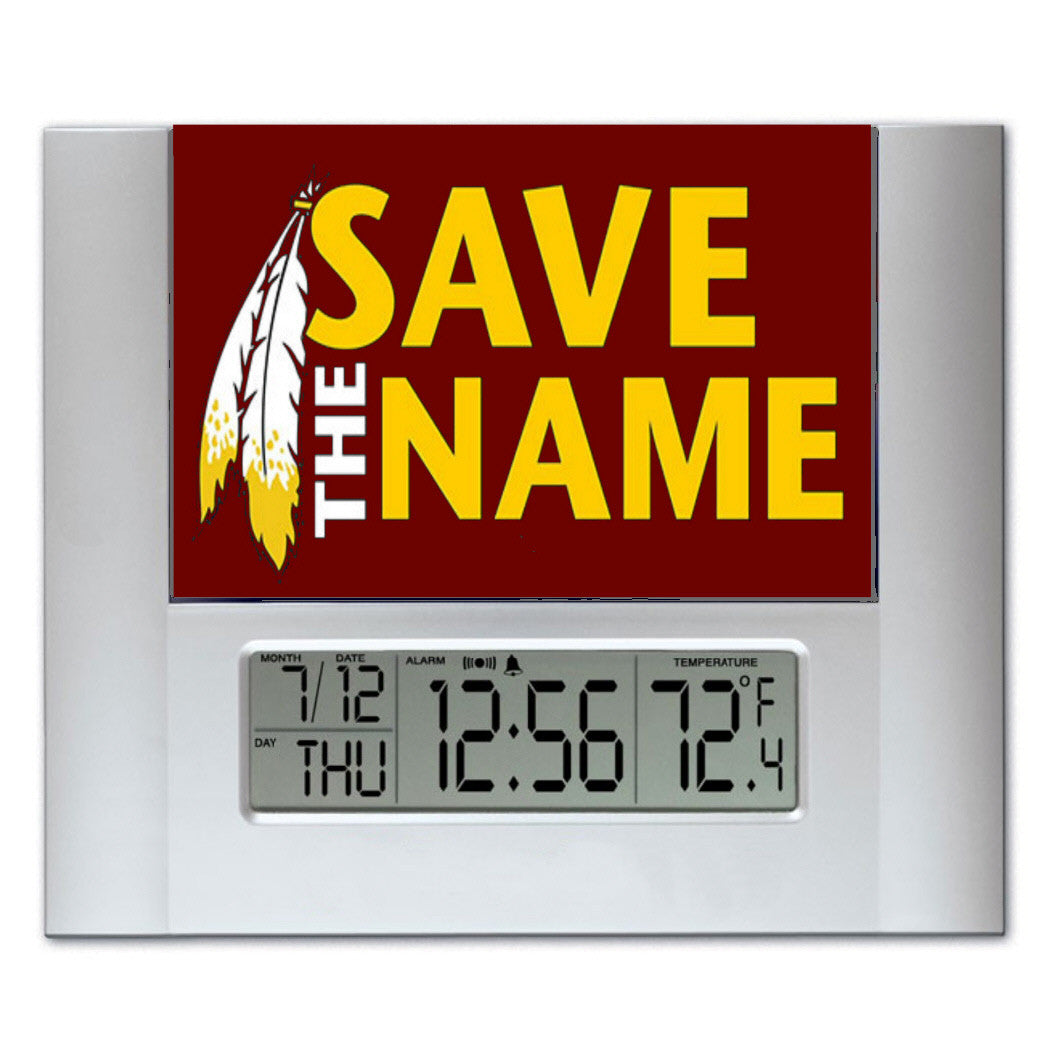 Washington Redskins Save The Name Digital Wall Desk Clock with temperature + alarm , clock - Final Score Products, Final Score Products
