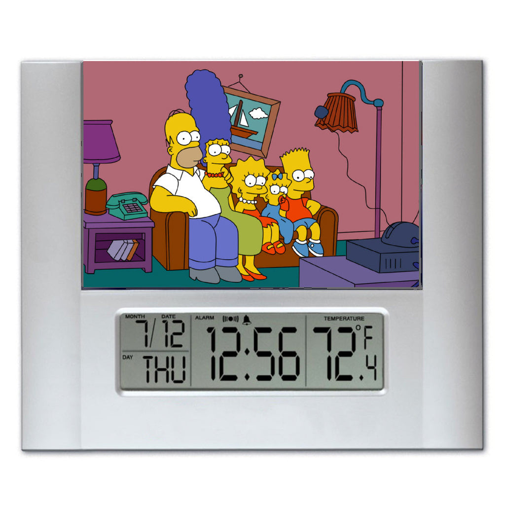 The Simpsons Couch Gag Digital Wall Desk Clock with temperature and alarm