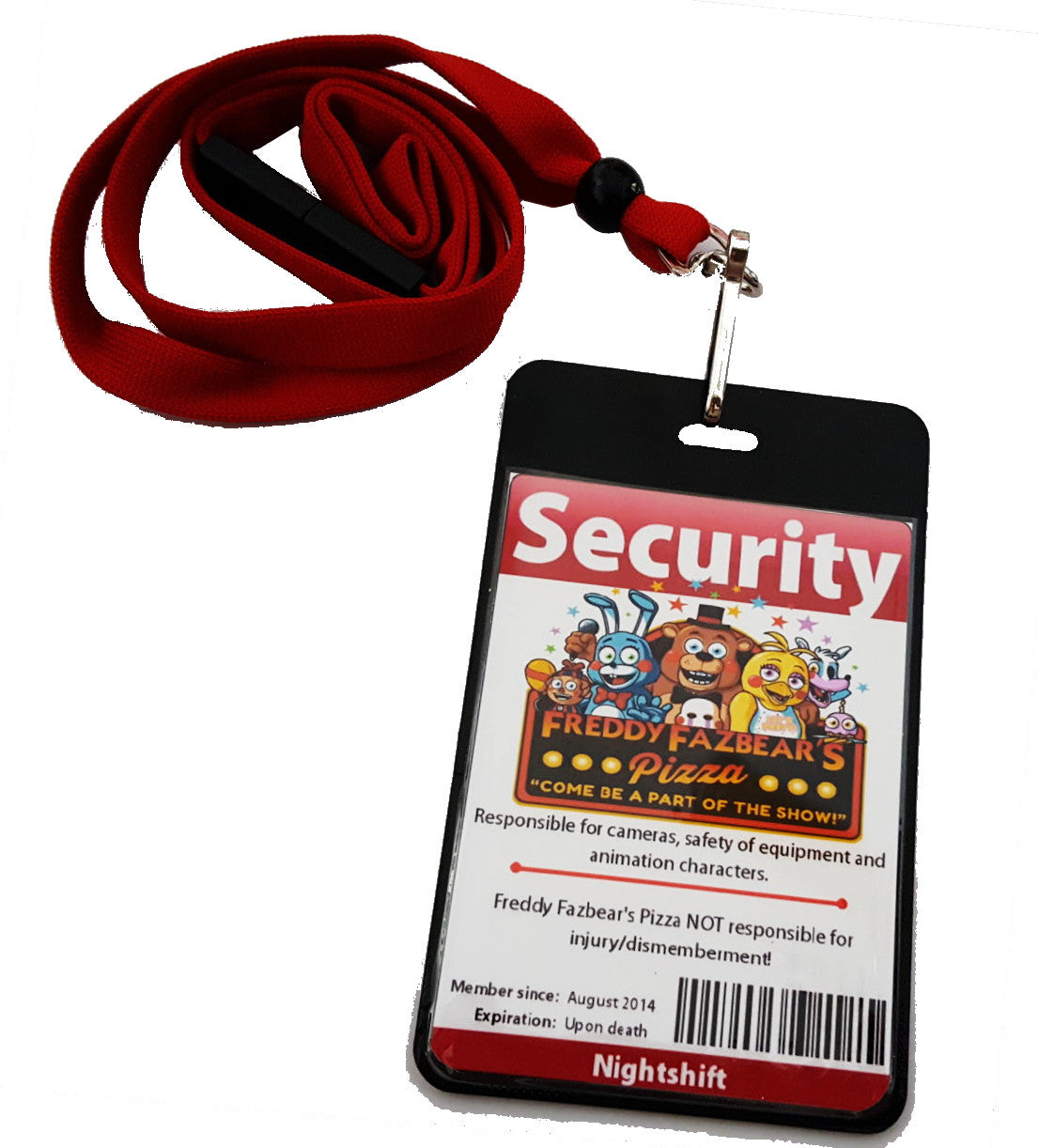 Two Sided Five Nights at Freddys FNAF Security Guard ID Badge Costume prop