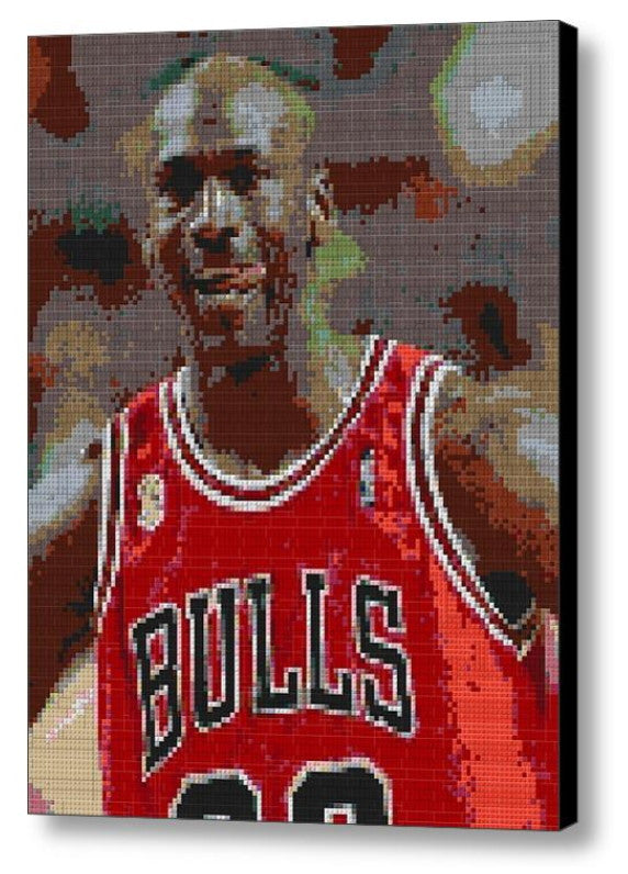 Michael Jordan Chicago Bulls Lego Brick Framed Mosaic Limited Edition Numbered Art Print