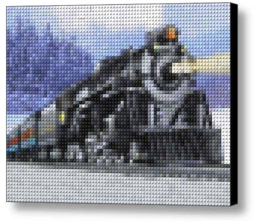 Lionel Train Polar Express Lego Brick Framed Mosaic Limited Edition Numbered Art Print