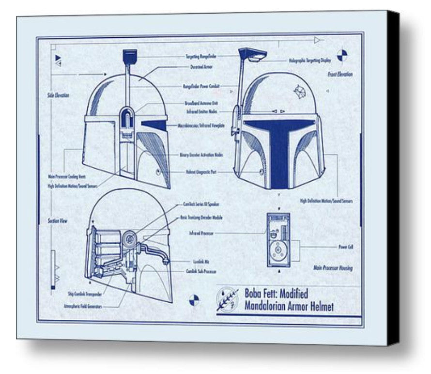 Framed Star Wars Boba Fett Helmet  Schematics Diagram Blueprint Plans