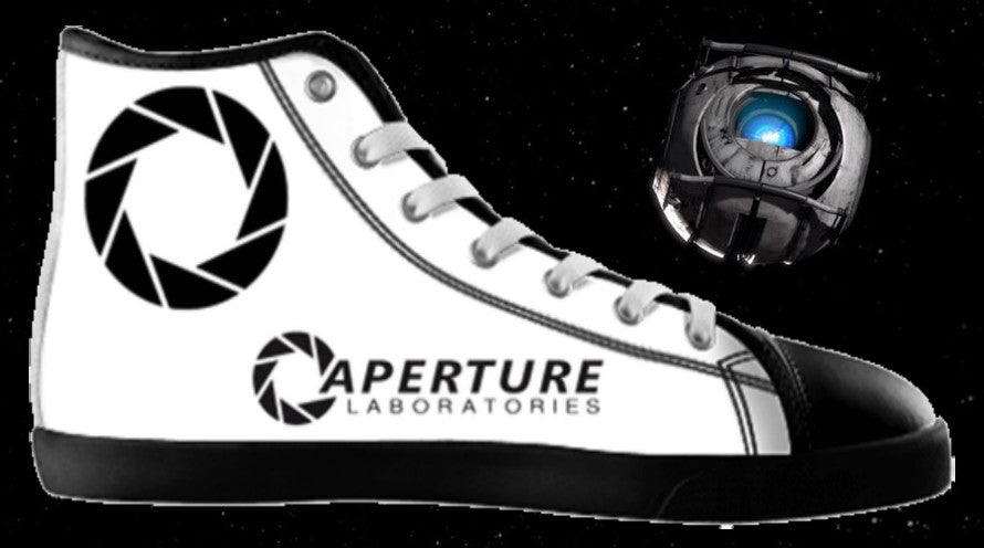 Portal 2 video game Aperture Laboratories High Top Shoes Mens Womens Kids Sizes , Shoes - Final Score Products, Final Score Products  - 1