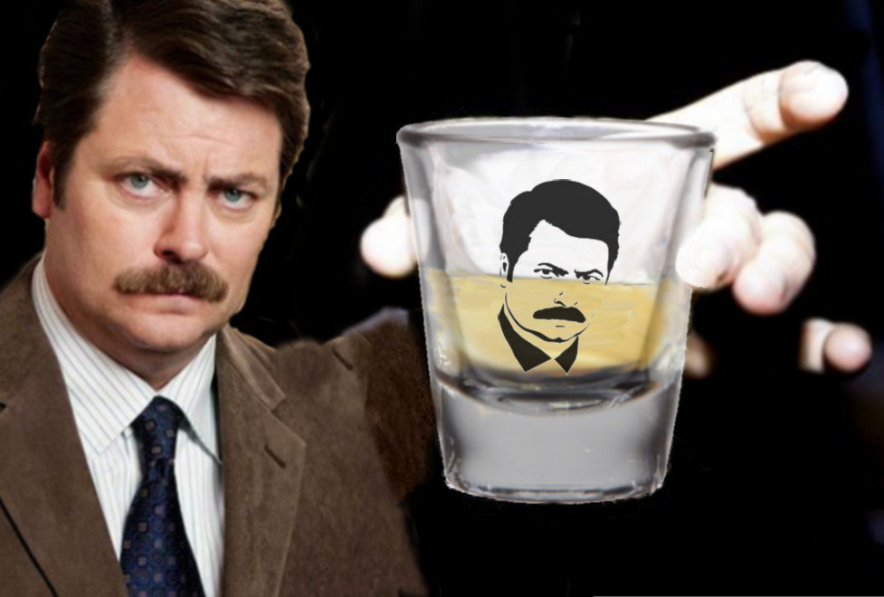 Ron Swanson Parks and Recreation TV Show  Promo Shot Glass LIMITED EDITION