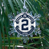 New York Yankees Derek Jeter Snowflake Blinking Light Holiday Christmas Tree Ornament , Holiday Decor - Final Score Products, Final Score Products  - 1