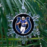 Indianapolis Colts Andrew Luck Snowflake Blinking Light Holiday Holiday Christmas Tree Ornament , Holiday Decor - Final Score Products, Final Score Products  - 1