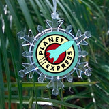 Futurama Planet Express Snowflake Color Blinking Holiday Christmas Tree Ornament , Holiday Decor - Final Score Products, Final Score Products  - 1
