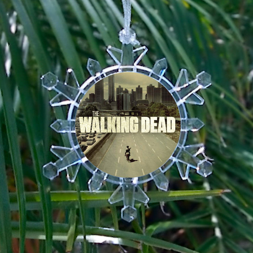 AMC TV show The Walking Dead Snowflake Blinking Light Holiday Holiday Christmas Tree Ornament , Holiday Decor - Final Score Products, Final Score Products  - 1