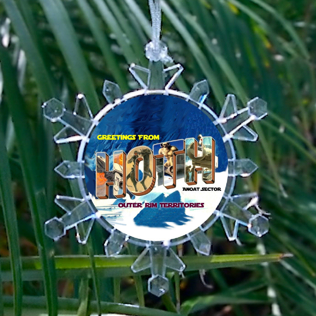 Star Wars Ice Planet Hoth Snowflake Blinking Light Holiday Holiday Christmas Tree Ornament , Holiday Decor - Final Score Products, Final Score Products  - 1