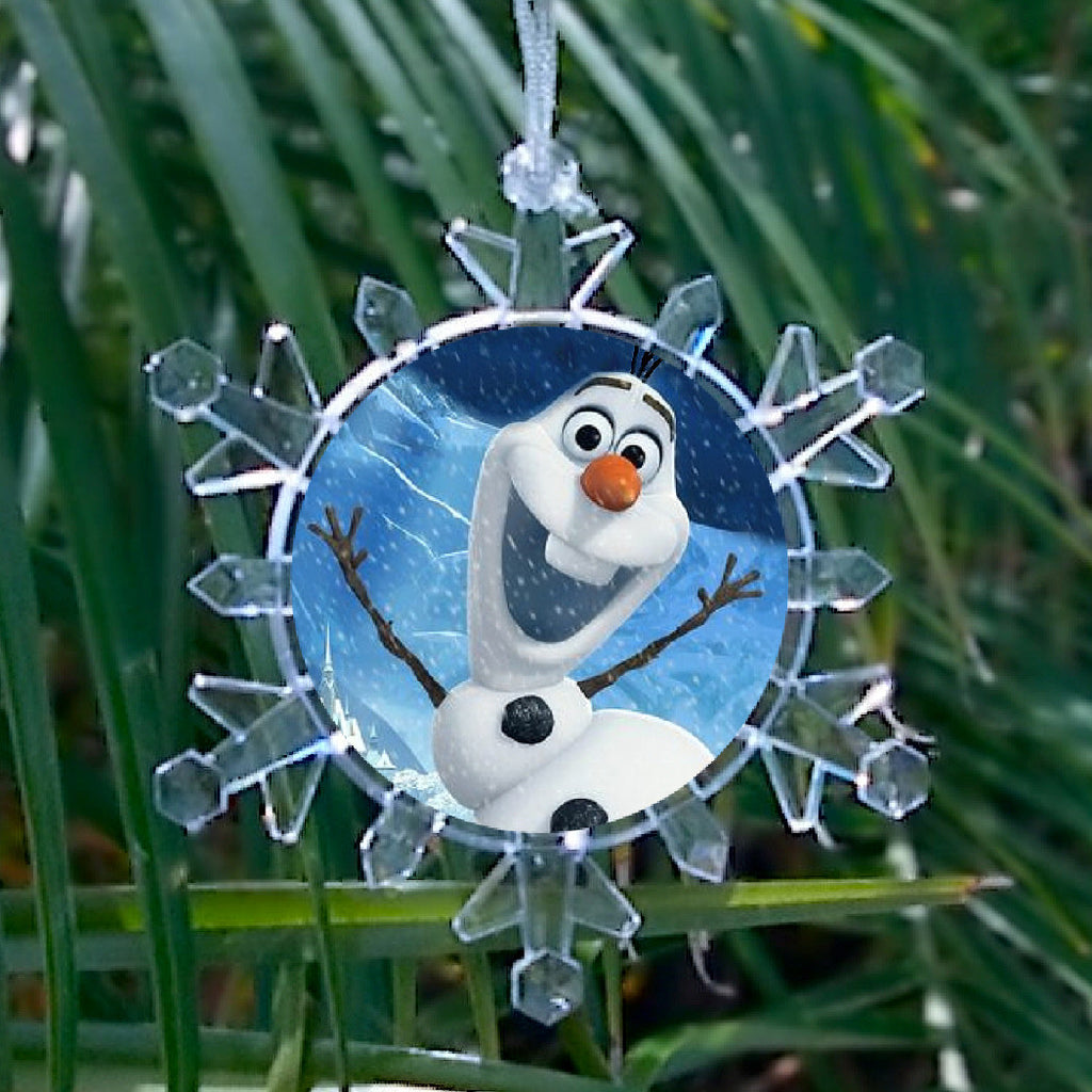 Frozen Olaf Snowman Snowflake Blinking Light Holiday Holiday Christmas Tree Ornament